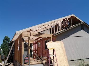 residential addition during framing in Bend Oregon