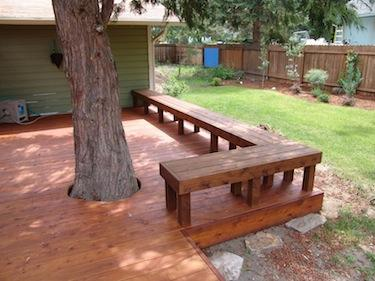 custom built deck with bench in Bend Oregon